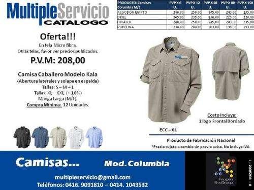 Camisas, modelos, columbia, fabricadas en telas nacionales