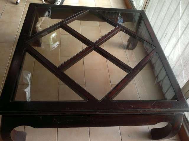 Mesas de madera y vidrio mesa solida vidrio superior for Mesa de madera con vidrio