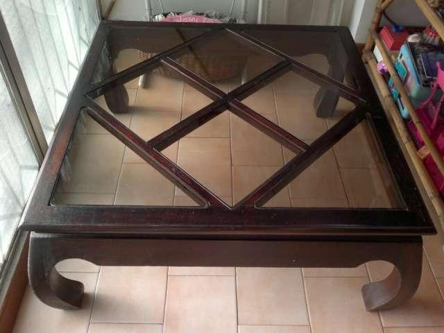 Mesa de madera cuadrada con vidrios para sala en chacao, venezuela ...
