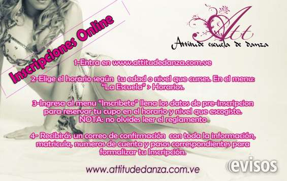 Inscripciones online, attitude clases de danza