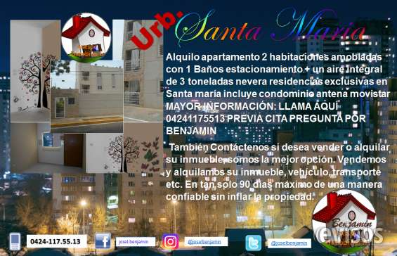 Se alquila apartamento bien ubicado en santa maría serca de ruta universitaria