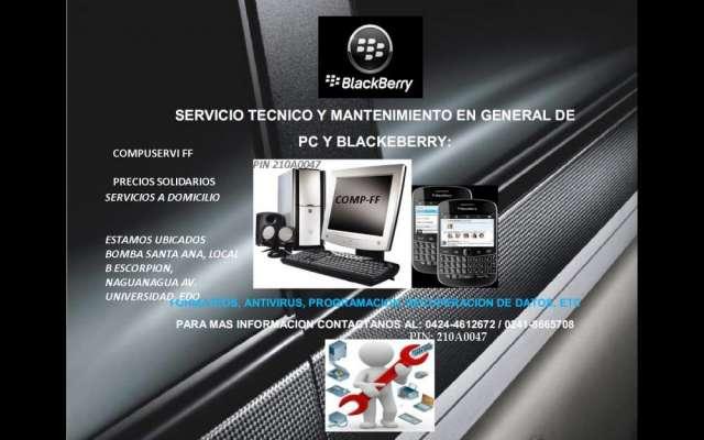 Servicio tecnico especializado pcs, laptos y blackberrys. precios solidarios.