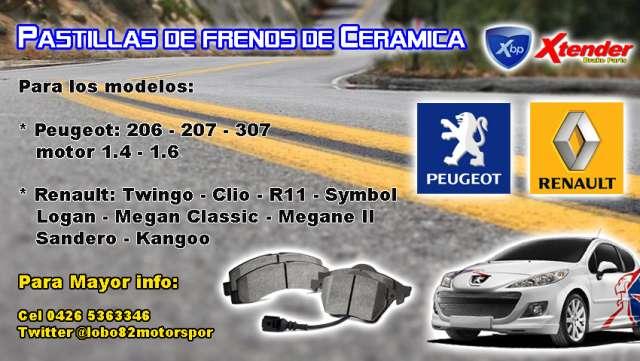 Pastillas de frenos ceramica peugeot 206 207 307 motor 1.6 - 1.4 renault kangoo