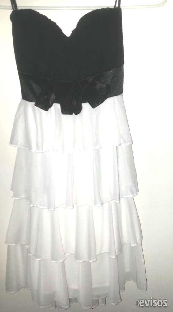 Vestido coctel blanco y negro
