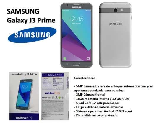 Teléfono nuevo samsung galaxy j3 prime plata 4g lte 16gb