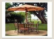 Mesas con sombrilla ideal para terrazas, áreas verdes