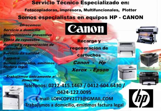Servicio tecnico hp canon caracas